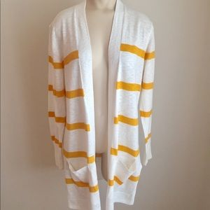 Old Navy Open Front Yellow Stripe Cardigan Med M